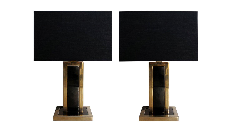 Lampade da tavolo vintage in metallo nero e ottone set di - Lampade da tavolo vintage ...