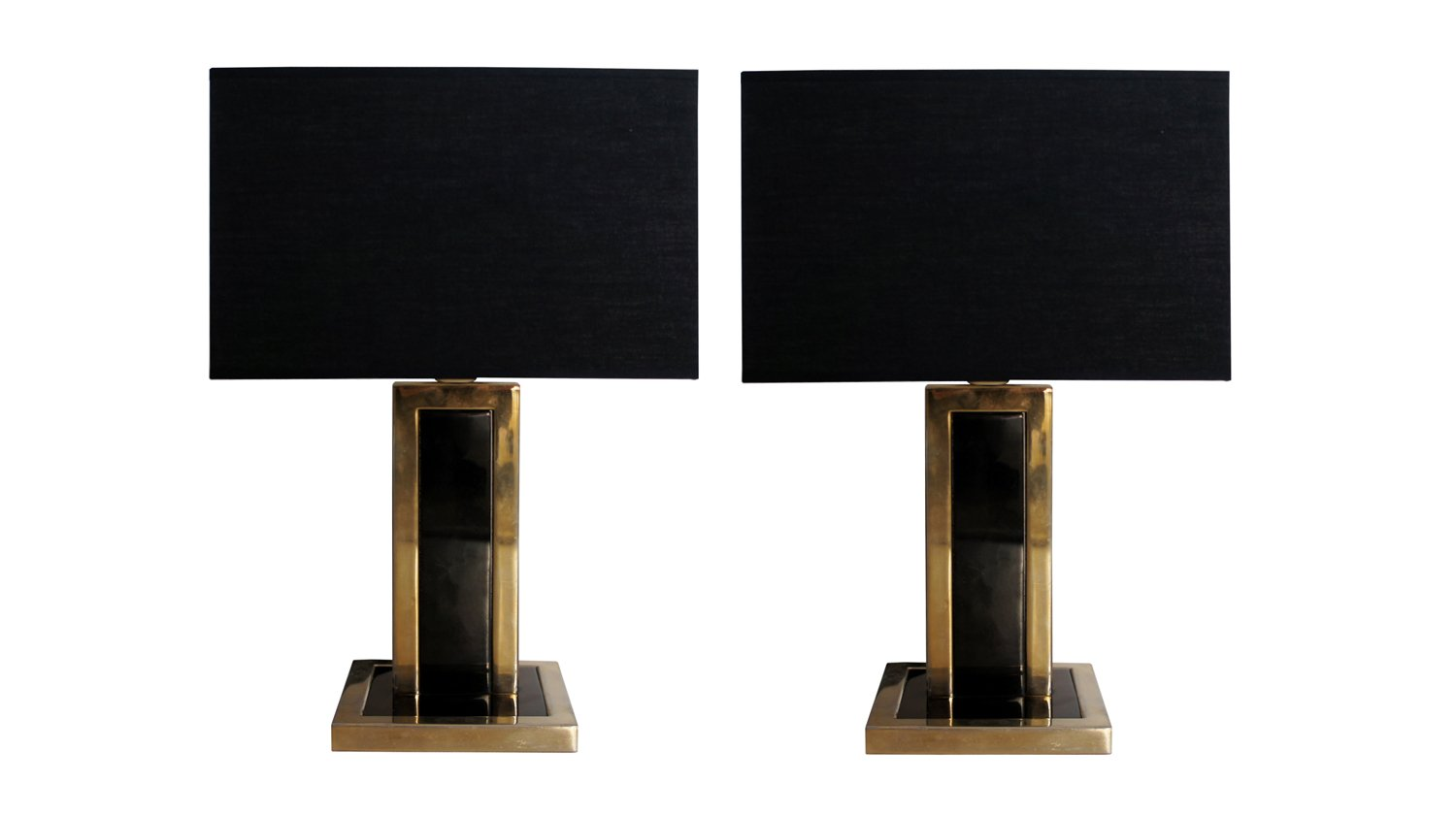 Nice Vintage Black Metal U0026 Brass Table Lamps, Set Of 2