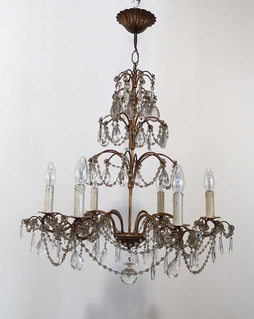 Vintage crystal and gold metal chandelier for sale at pamono vintage crystal and gold metal chandelier aloadofball Gallery