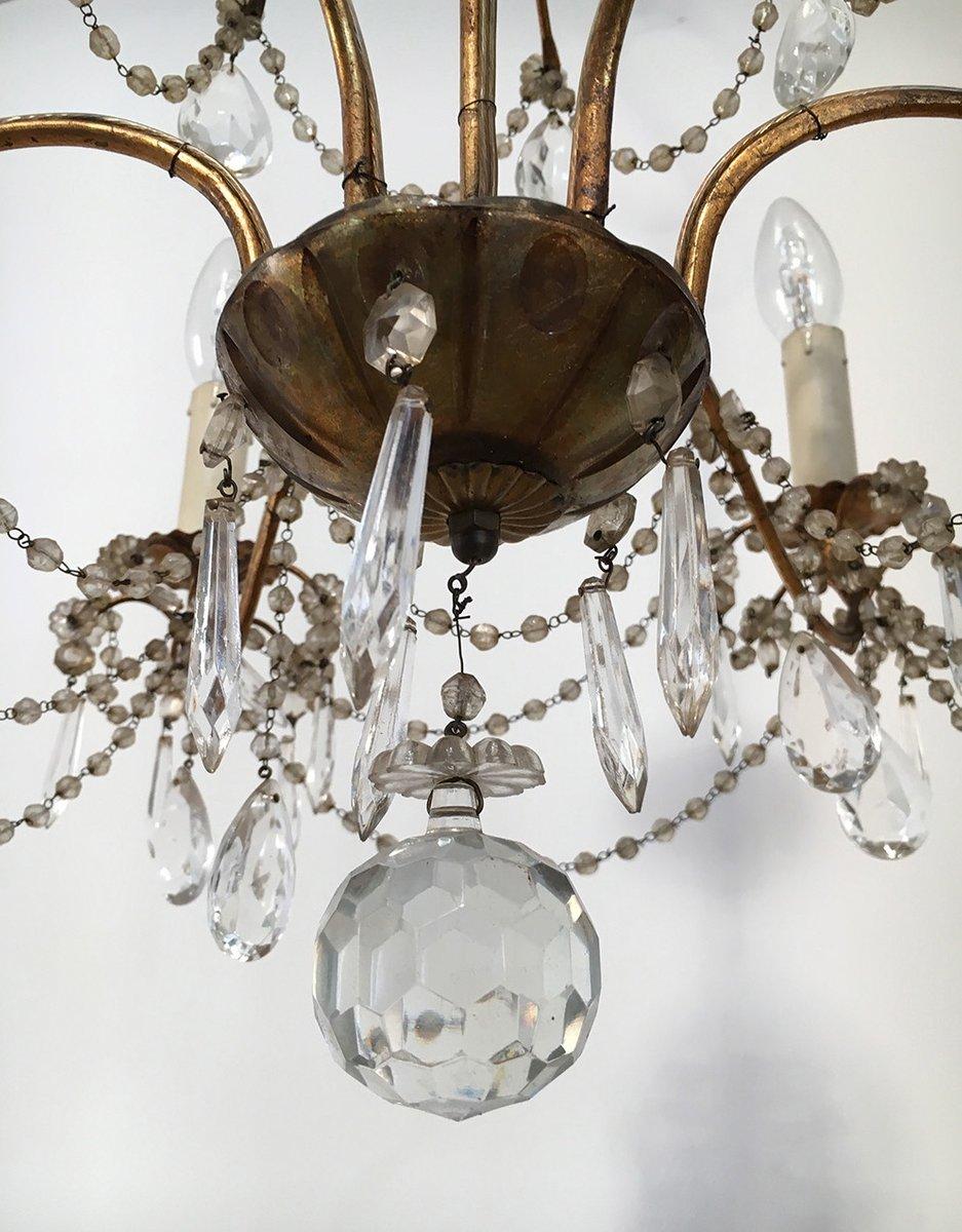 vintage kronleuchter aus kristall goldenem metall bei pamono kaufen. Black Bedroom Furniture Sets. Home Design Ideas