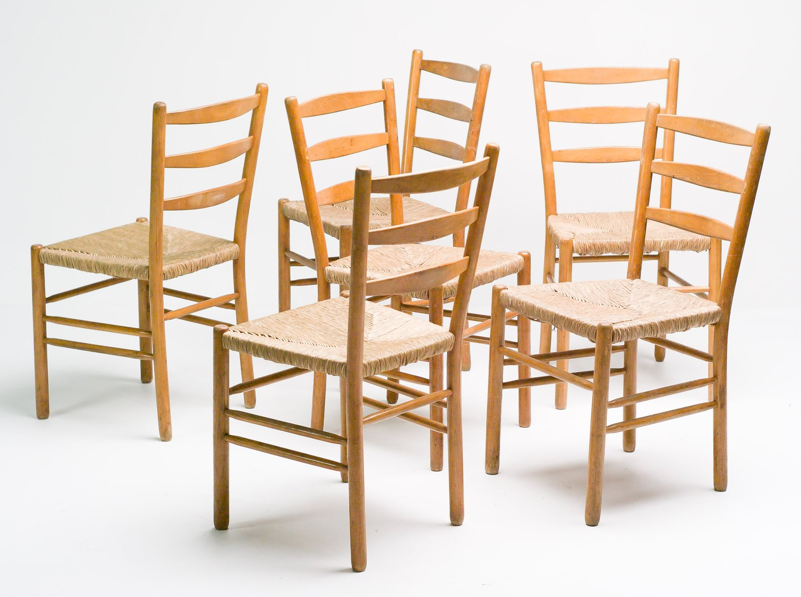 Swedish Oregon Pine Dining Chairs Set Of 8