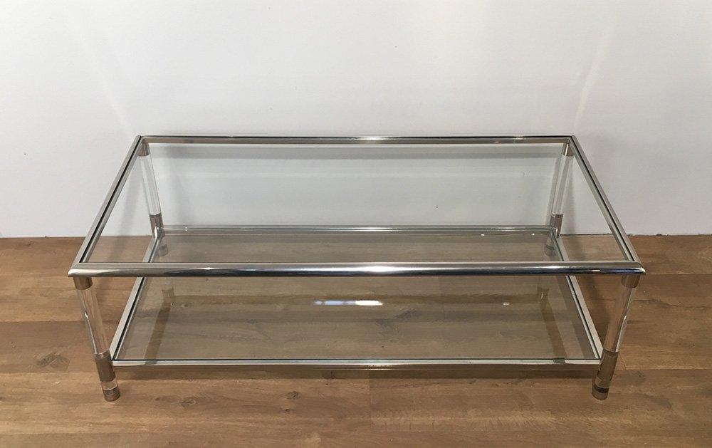table basse vintage en chrome et en plexiglas en vente sur pamono. Black Bedroom Furniture Sets. Home Design Ideas