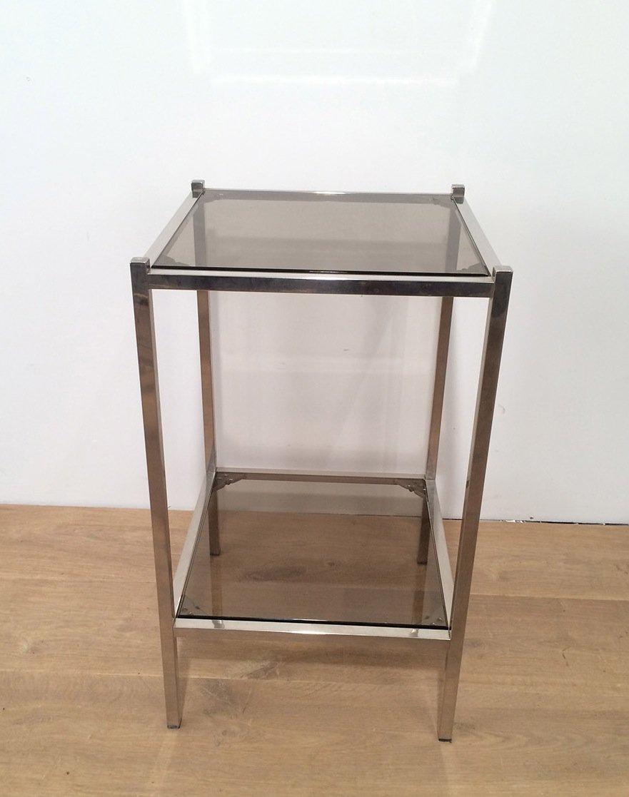 vintage beistelltische aus metall und glas 2er set bei. Black Bedroom Furniture Sets. Home Design Ideas