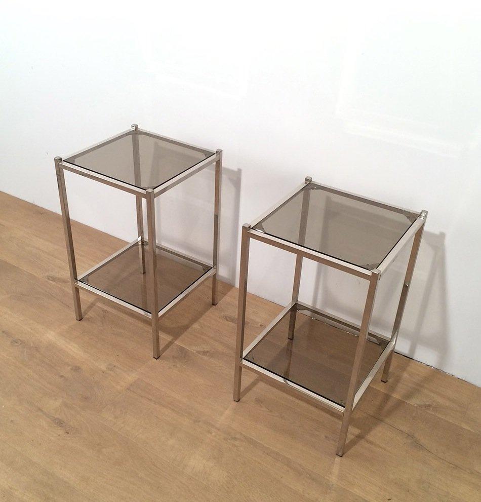 Vintage beistelltische aus metall und glas 2er set bei for Designer beistelltische metall