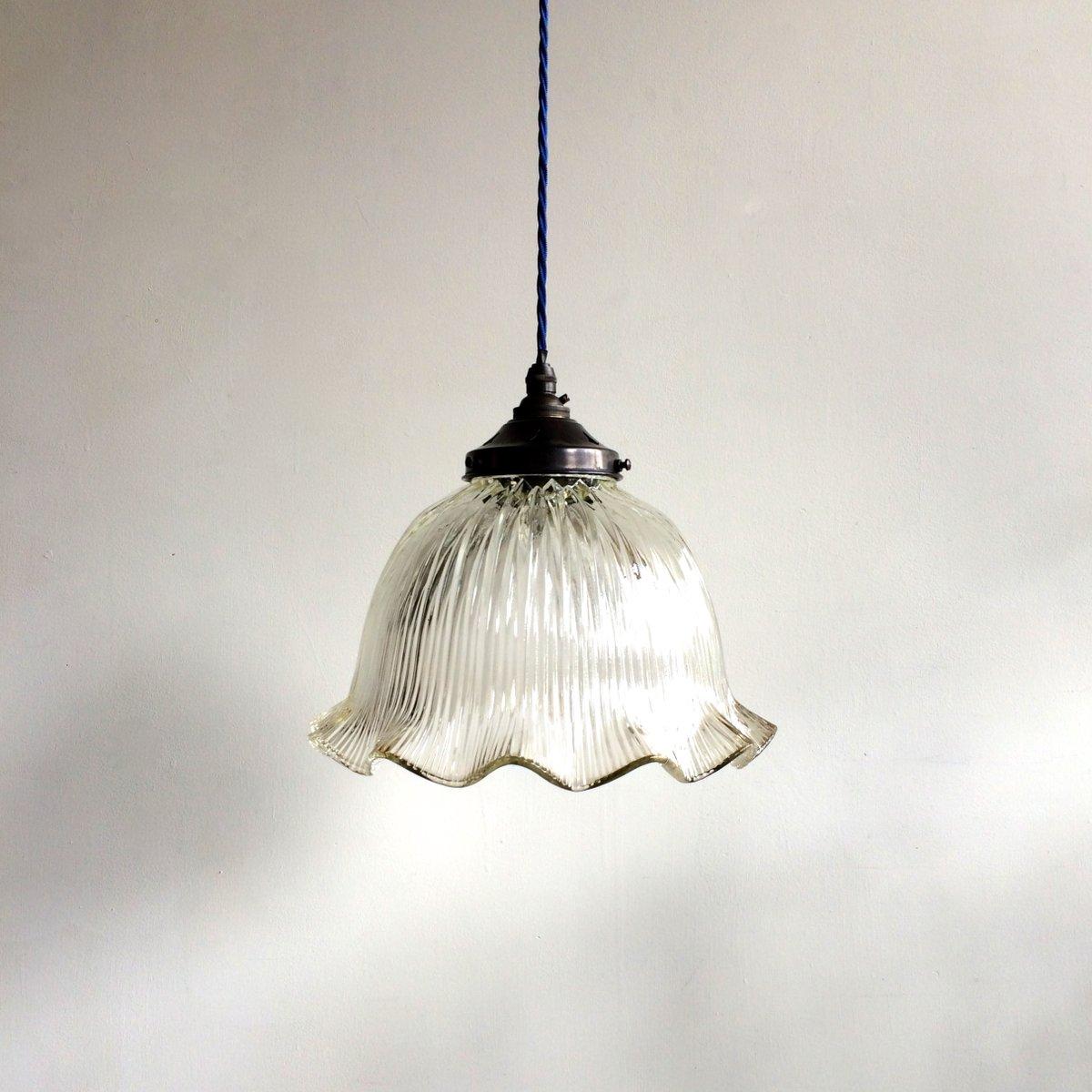 vintage glass pendant from holophane for sale at pamono. Black Bedroom Furniture Sets. Home Design Ideas