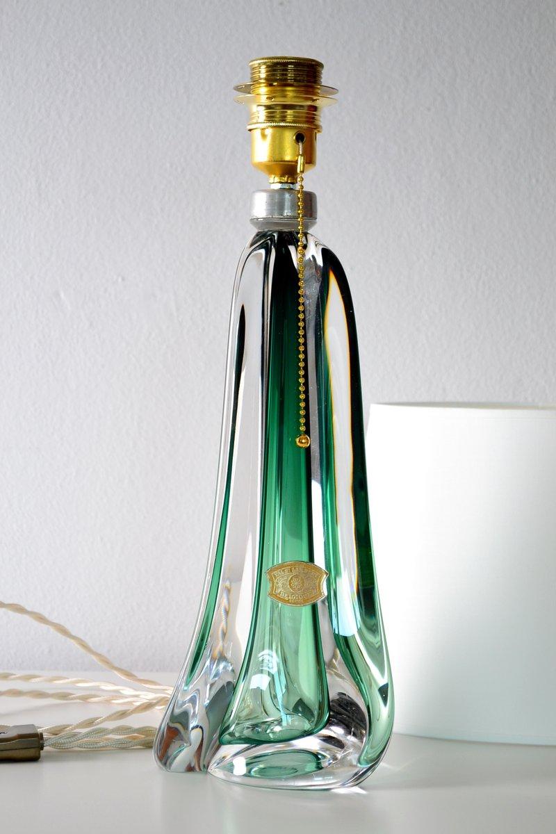 Mid Century Belgian Emerald Green Crystal Glass Table Lamp