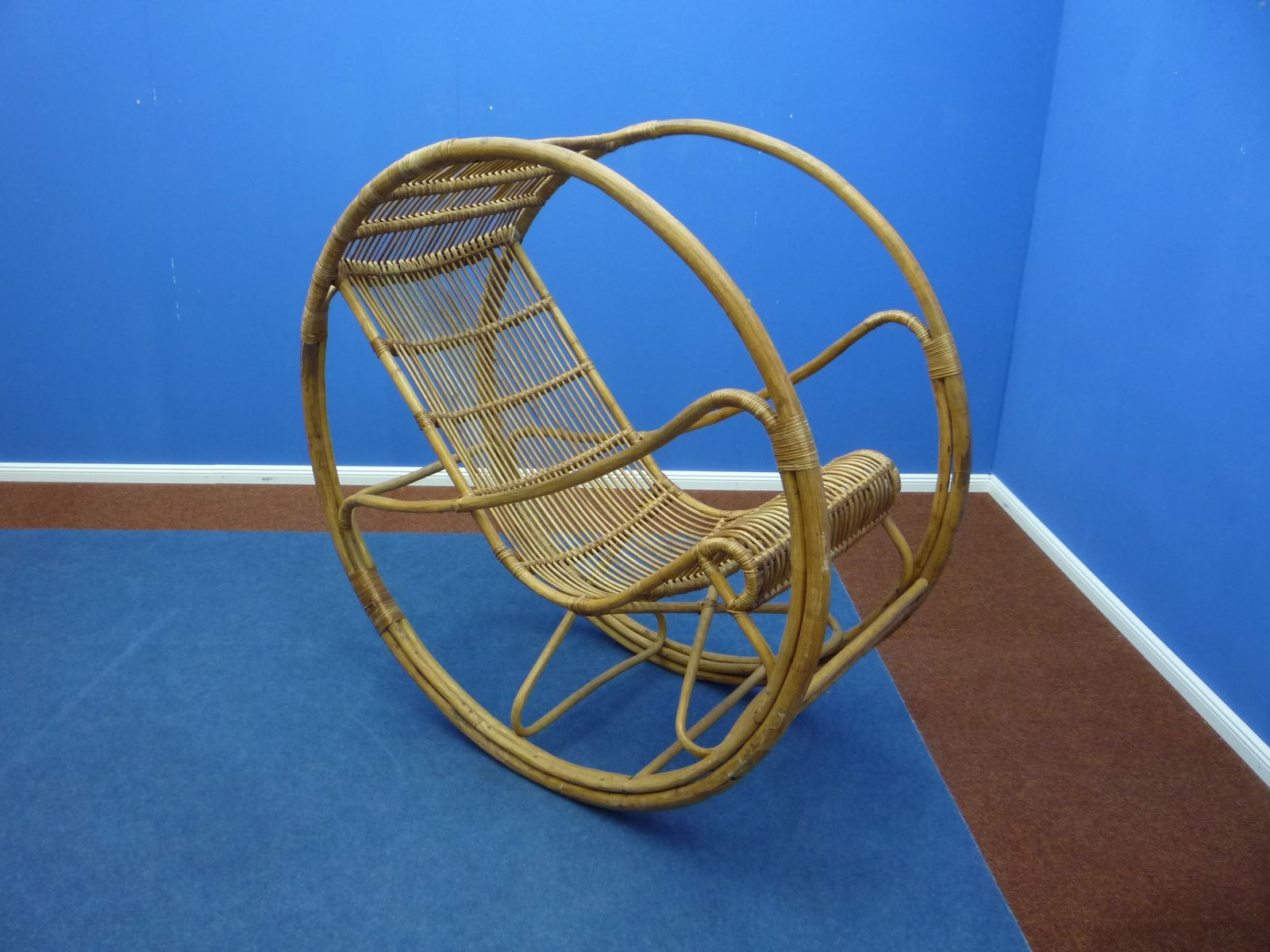 rattan wicker rocking chair 1960s for sale at pamono. Black Bedroom Furniture Sets. Home Design Ideas
