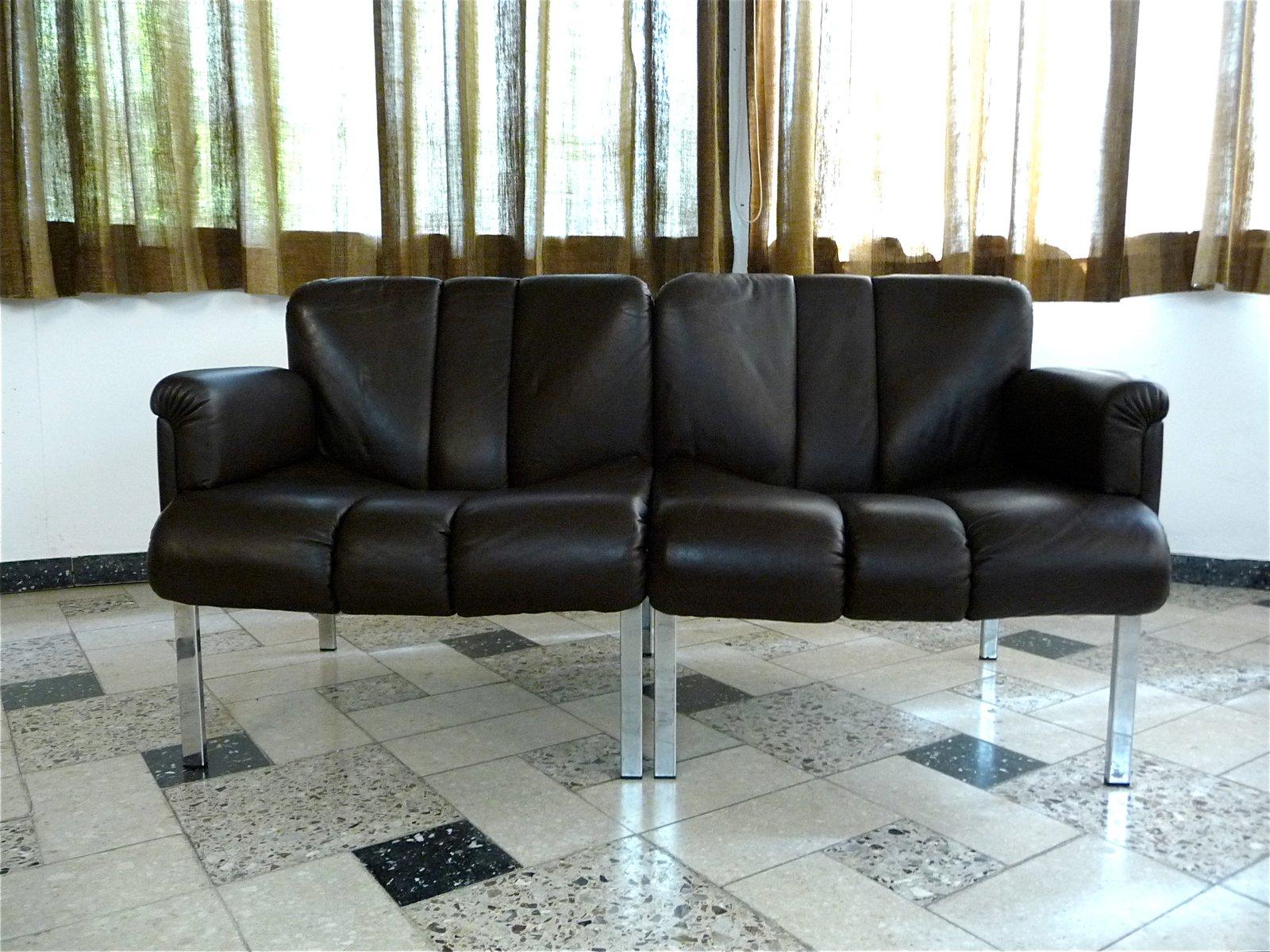 dunkelbraunes eurochair ledersofa von girsberger 1970er bei pamono kaufen. Black Bedroom Furniture Sets. Home Design Ideas