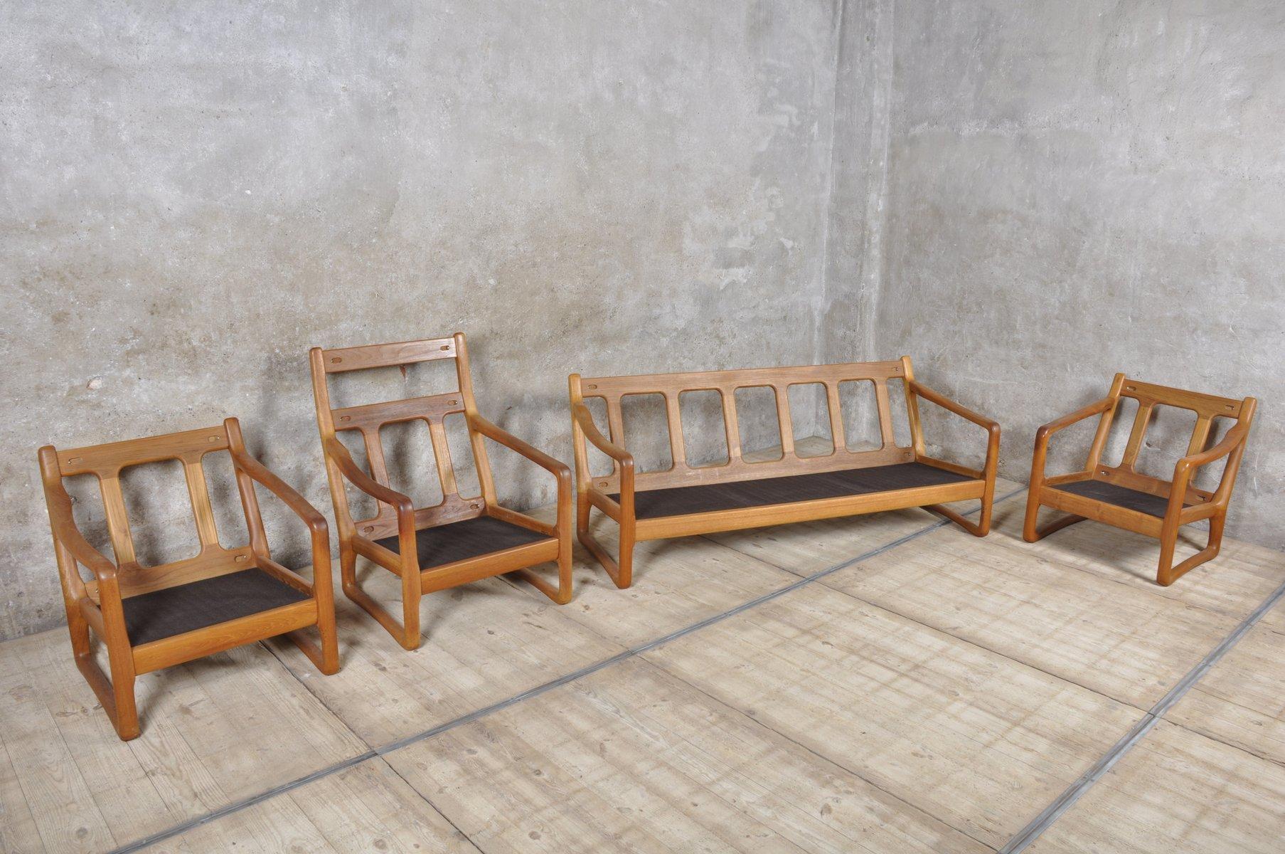 Danish Teak and Leather Living Room Set from Juul Kristensen for ...