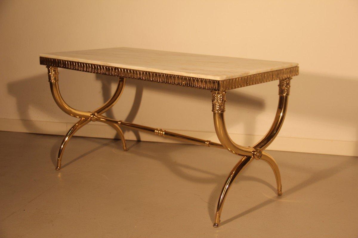 italienischer mid century couchtisch aus messing marmor 1950er bei pamono kaufen. Black Bedroom Furniture Sets. Home Design Ideas