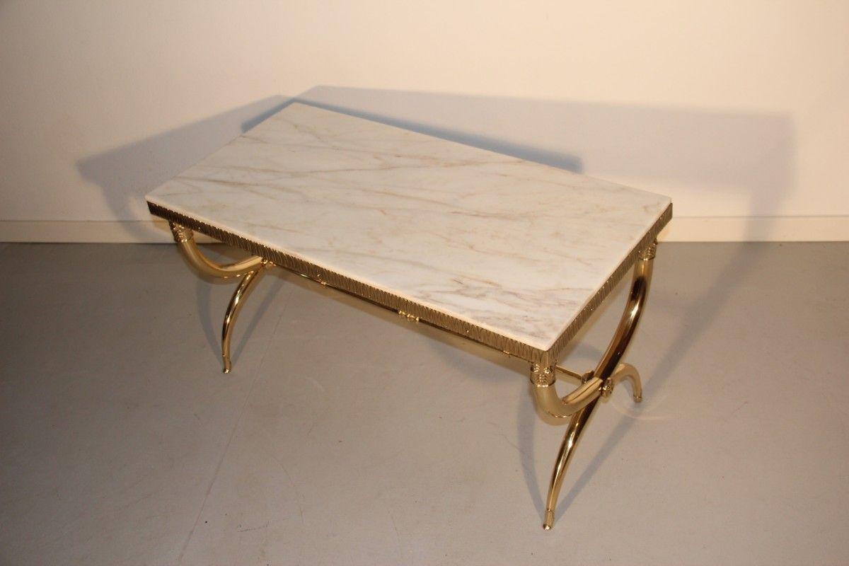 table basse mid century en laiton et en marbre italie 1950s en vente sur pamono. Black Bedroom Furniture Sets. Home Design Ideas