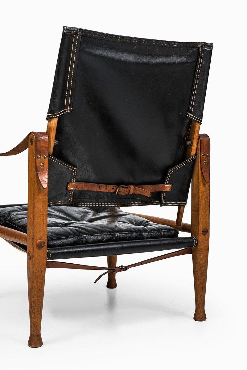safari st hle mit schwarzem leder von kaare klint f r rud rasmussen 2er set bei pamono kaufen. Black Bedroom Furniture Sets. Home Design Ideas
