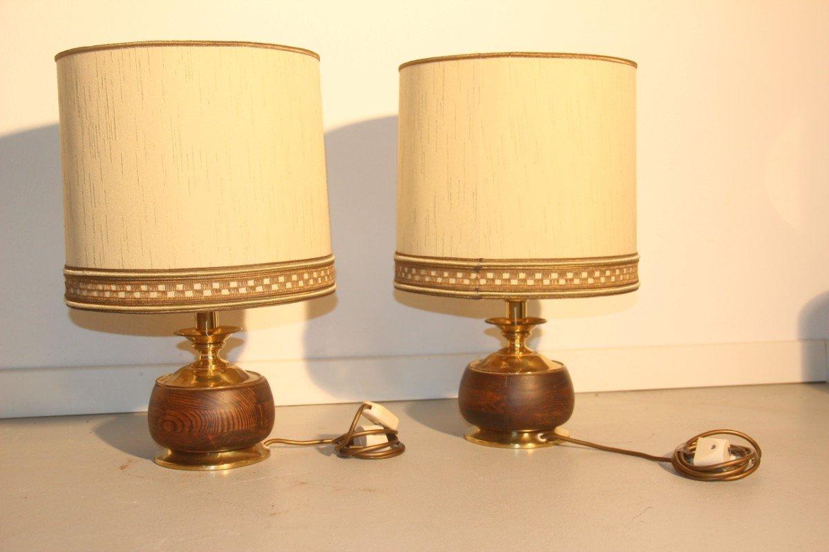 Italian Wood U0026 Brass Table Lamps, 1950, Set Of 2