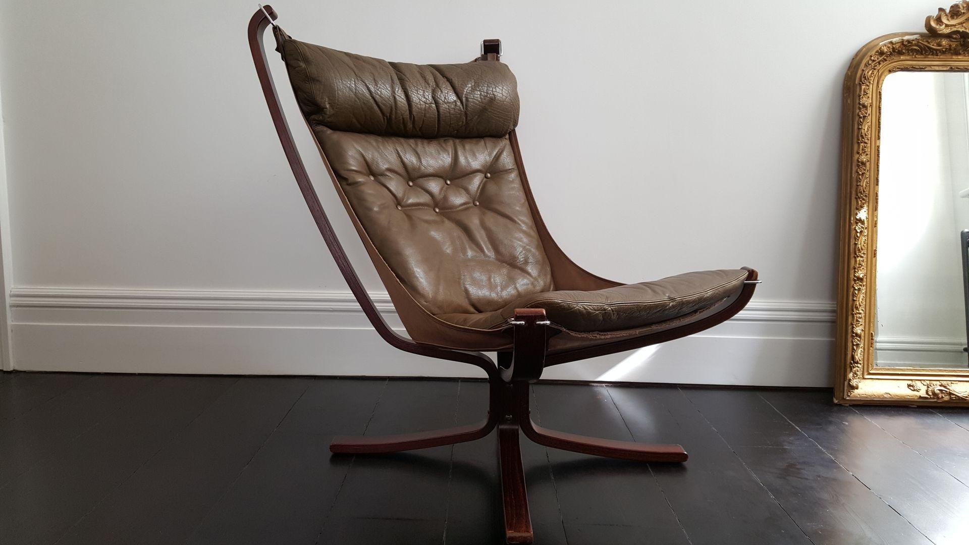 vintage falcon stuhl mit x rahmen und hoher r ckenlehne von sigurd ressell f r vatne m bler bei. Black Bedroom Furniture Sets. Home Design Ideas