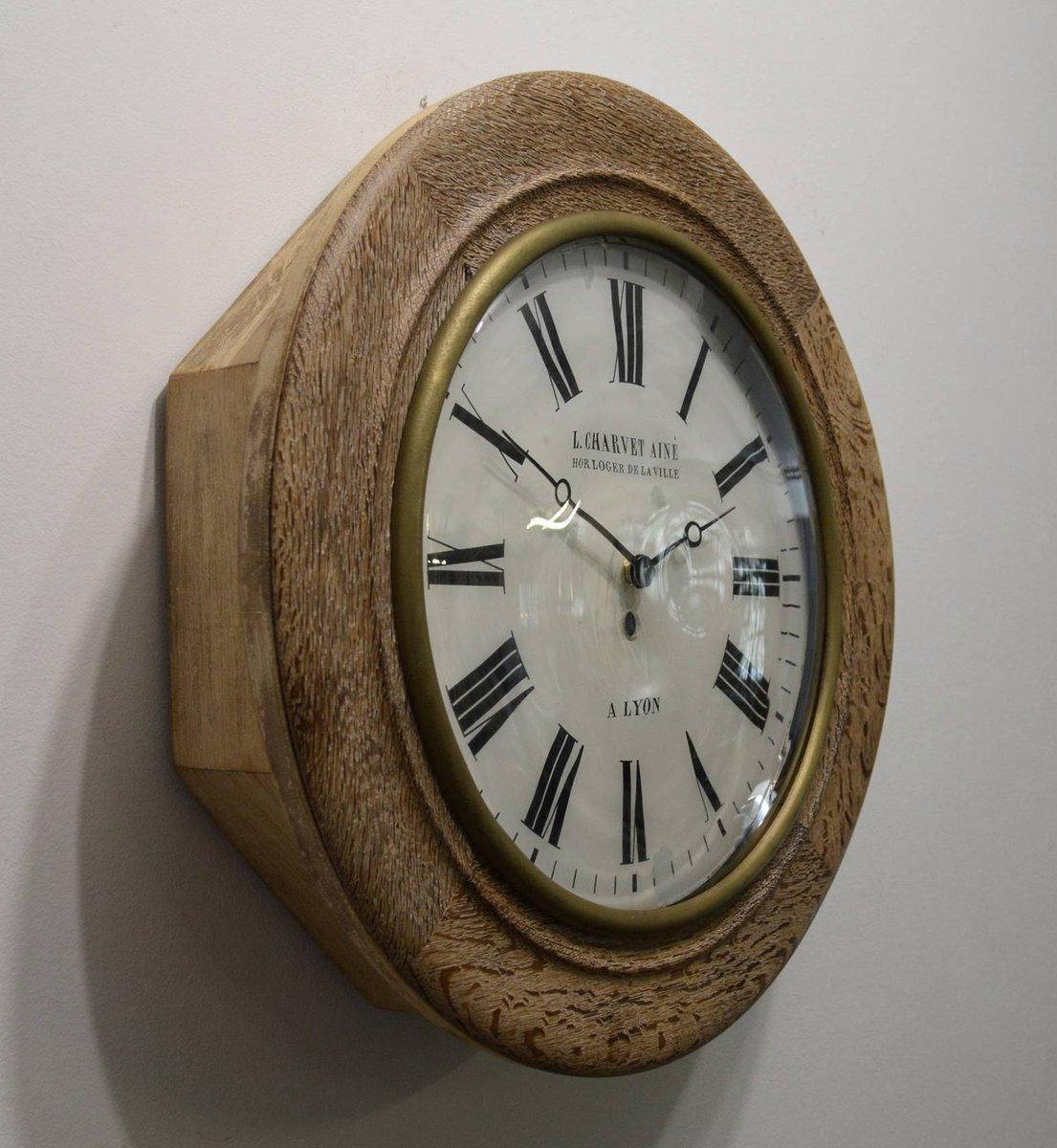horloge murale vintage en bois de charvet ain en vente sur pamono. Black Bedroom Furniture Sets. Home Design Ideas