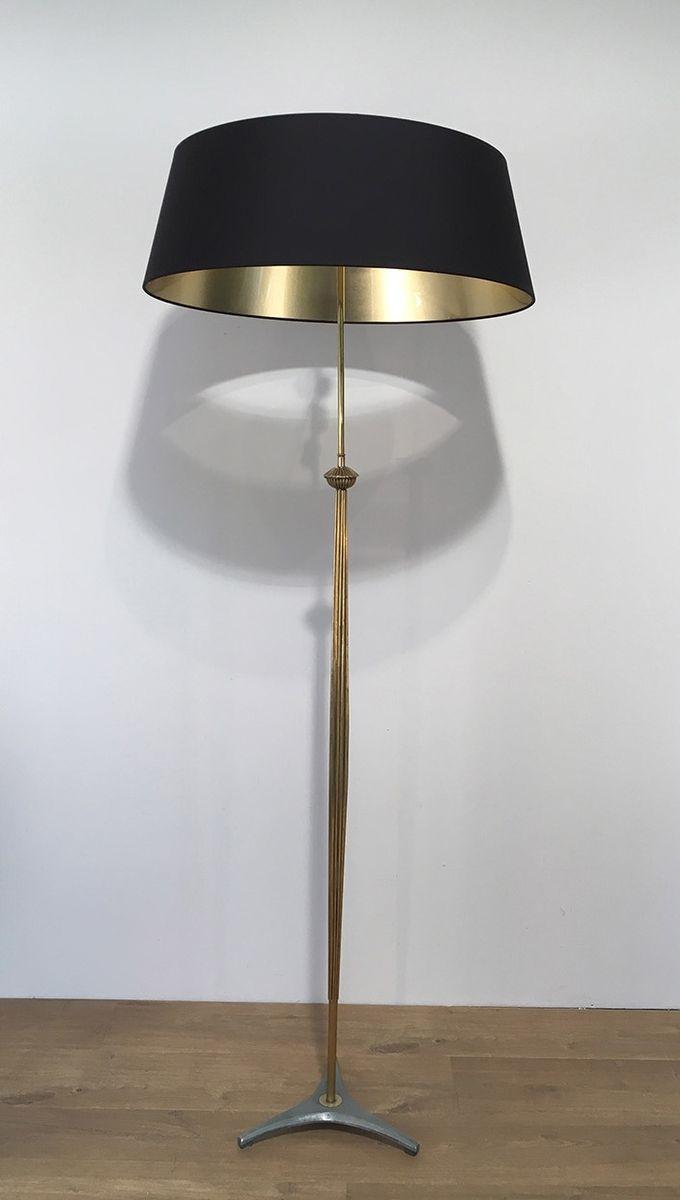 messing stehlampe mit schwarzem lampenschirm 1960er bei pamono kaufen. Black Bedroom Furniture Sets. Home Design Ideas
