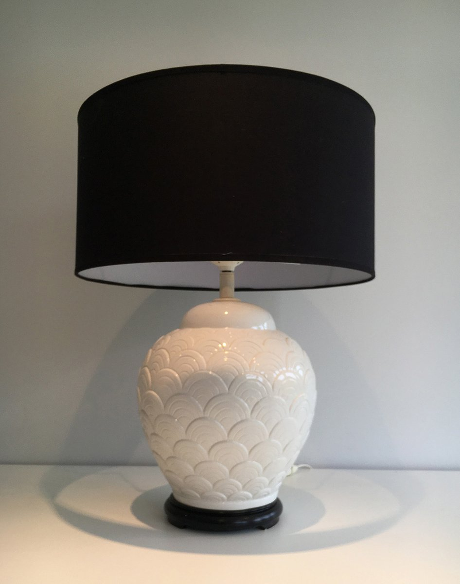 tischlampe aus wei er keramik 1970er bei pamono kaufen. Black Bedroom Furniture Sets. Home Design Ideas