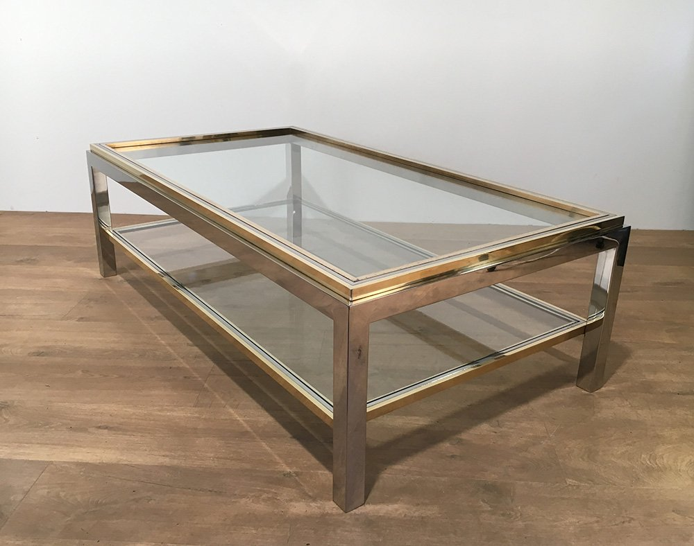 Vintage Glass Brass Coffee Table By Willy Rizzo 1970s For Sale At Pamono