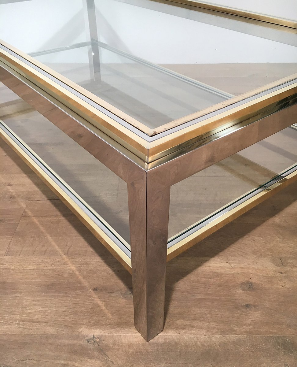 Vintage Glass Brass Coffee Table by Willy Rizzo 1970s for sale at