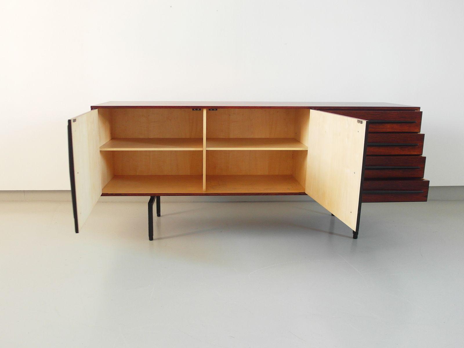 Italian rosewood sideboard with ebonized handles 1950s for Sideboard 3 meter lang