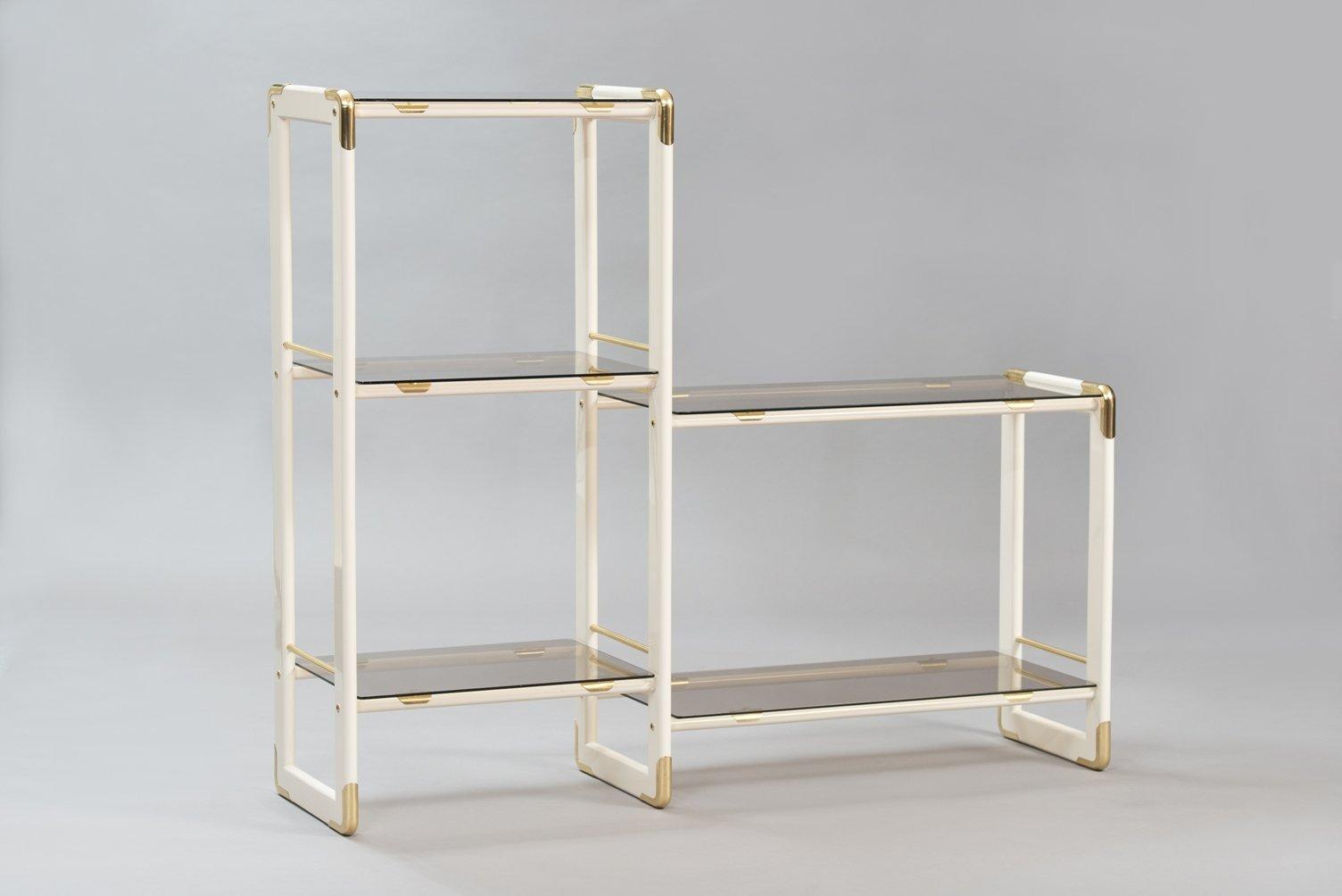 Vintage Italian Wood, Brass & Glass Bookshelf for sale at Pamono