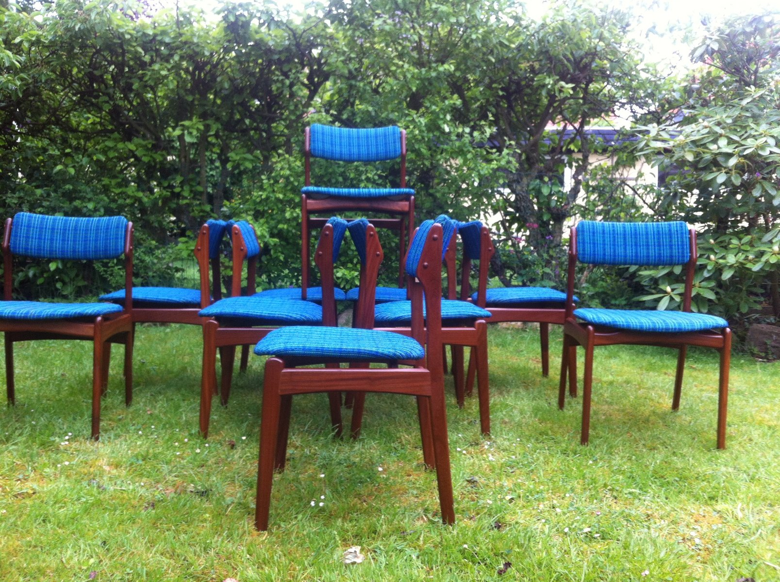 OD49 Teak Dining Chairs by Erik Buch for Poul Dinesen 1970s Set