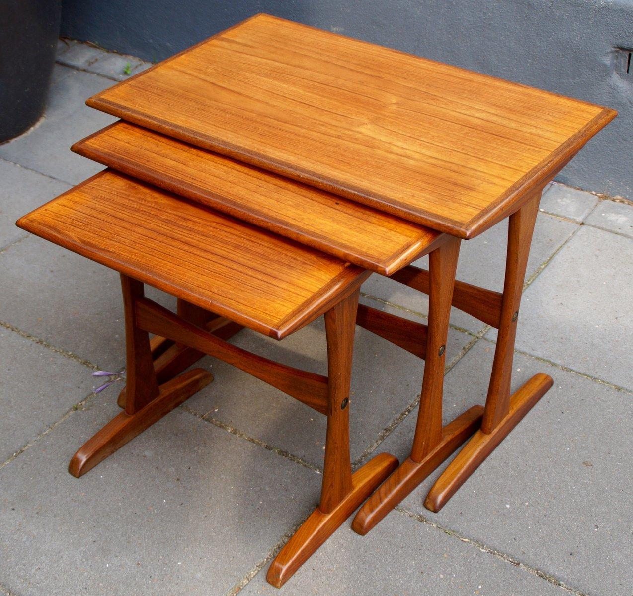 Mid Century Danish Teak Nesting Tables, Set Of 3