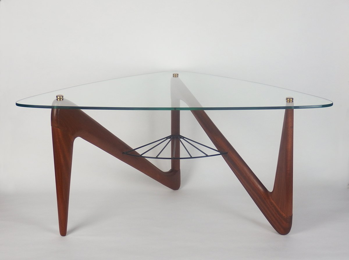 French glass metal and mahogany coffee table by louis for Table triangulaire