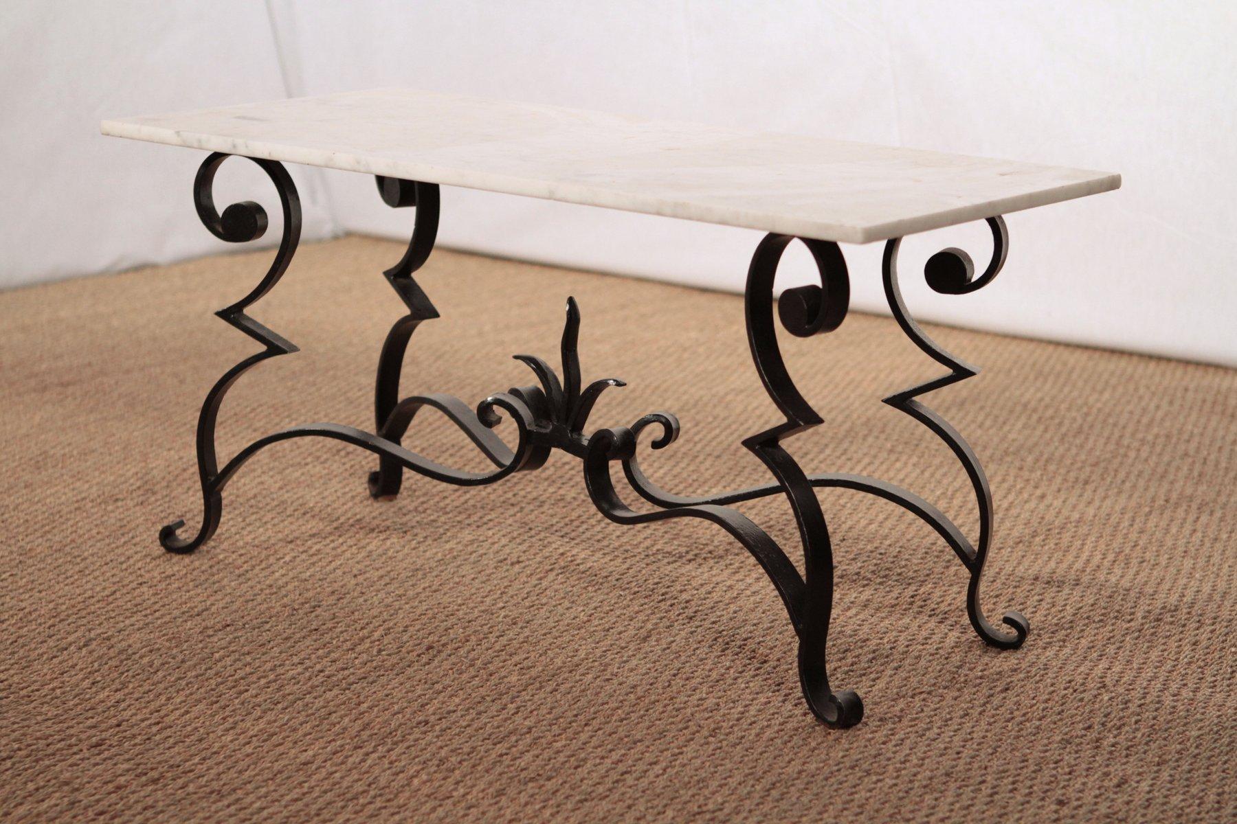 Tavolo da pranzo in ferro battuto e marmo in vendita su Pamono