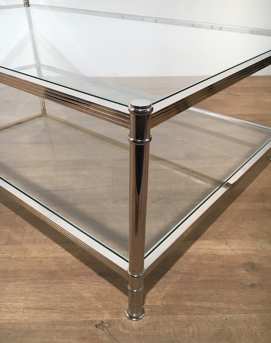 Large Chrome Coffee Table from Roche Bobois 1970s for sale at Pamono