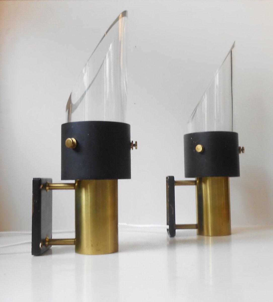 moderne saga wandlampen von lyfa orrefors 1970er 2er. Black Bedroom Furniture Sets. Home Design Ideas