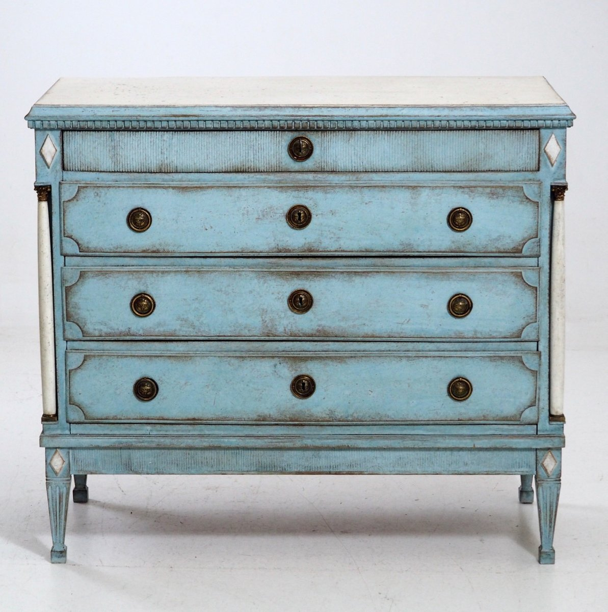 Antique Blue Gustavian Chest of Drawers - Antique Blue Gustavian Chest Of Drawers For Sale At Pamono