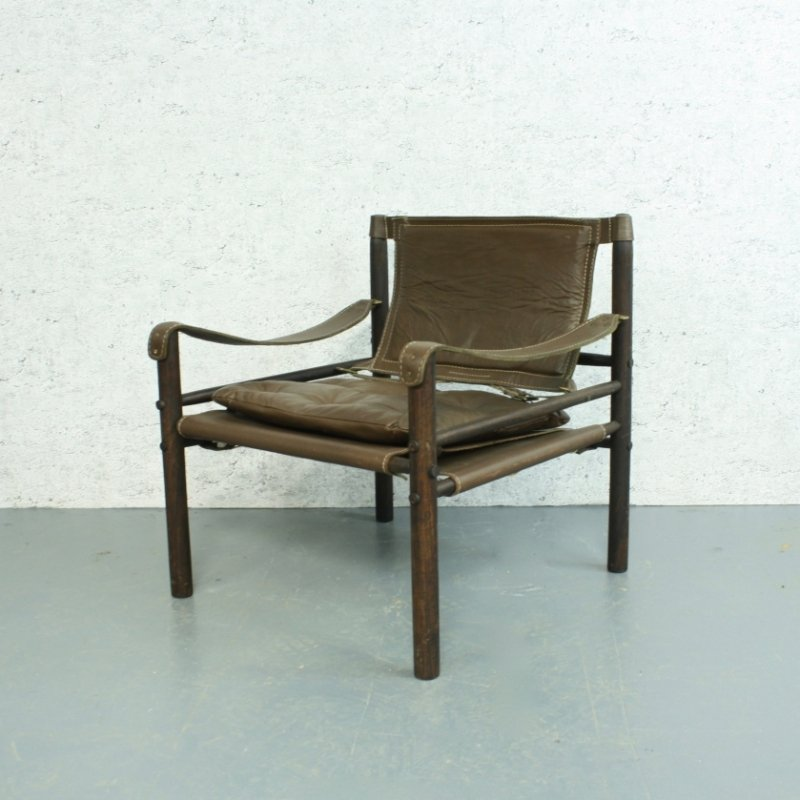 Sirocco Brown Leather Safari Chair By Arne Norell