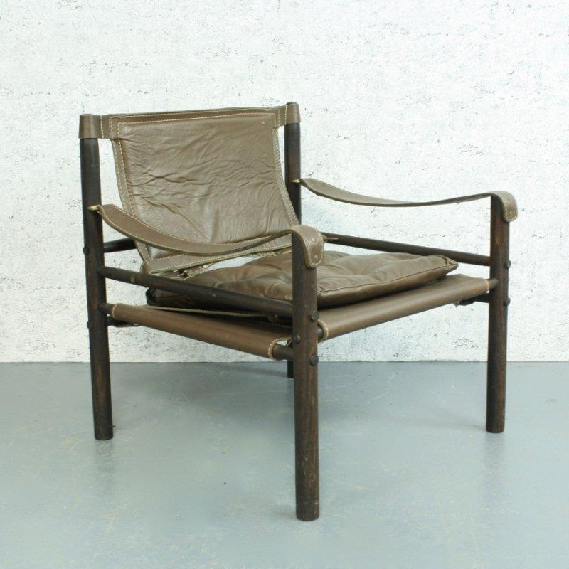 Sirocco brauner safari stuhl aus leder von arne norell bei for Brauner stuhl