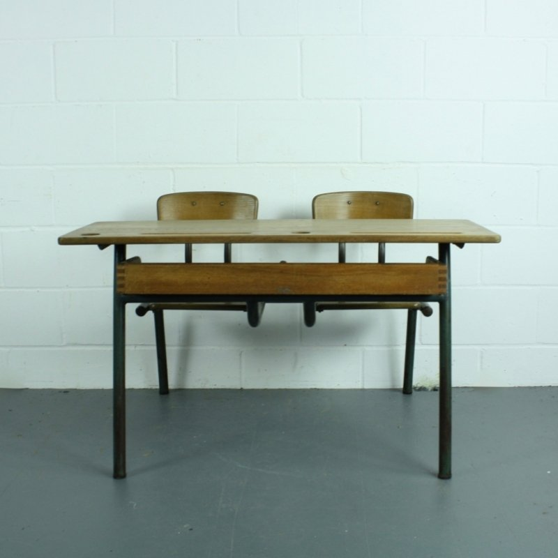 Vintage French Children S Double Desk And Chairs Set For At Pamono