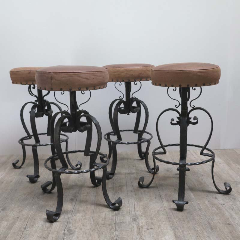 Wrought Iron Bar Chairs. Vintage German Wrought Iron \u0026 Leather Bar  Stools, 1970s
