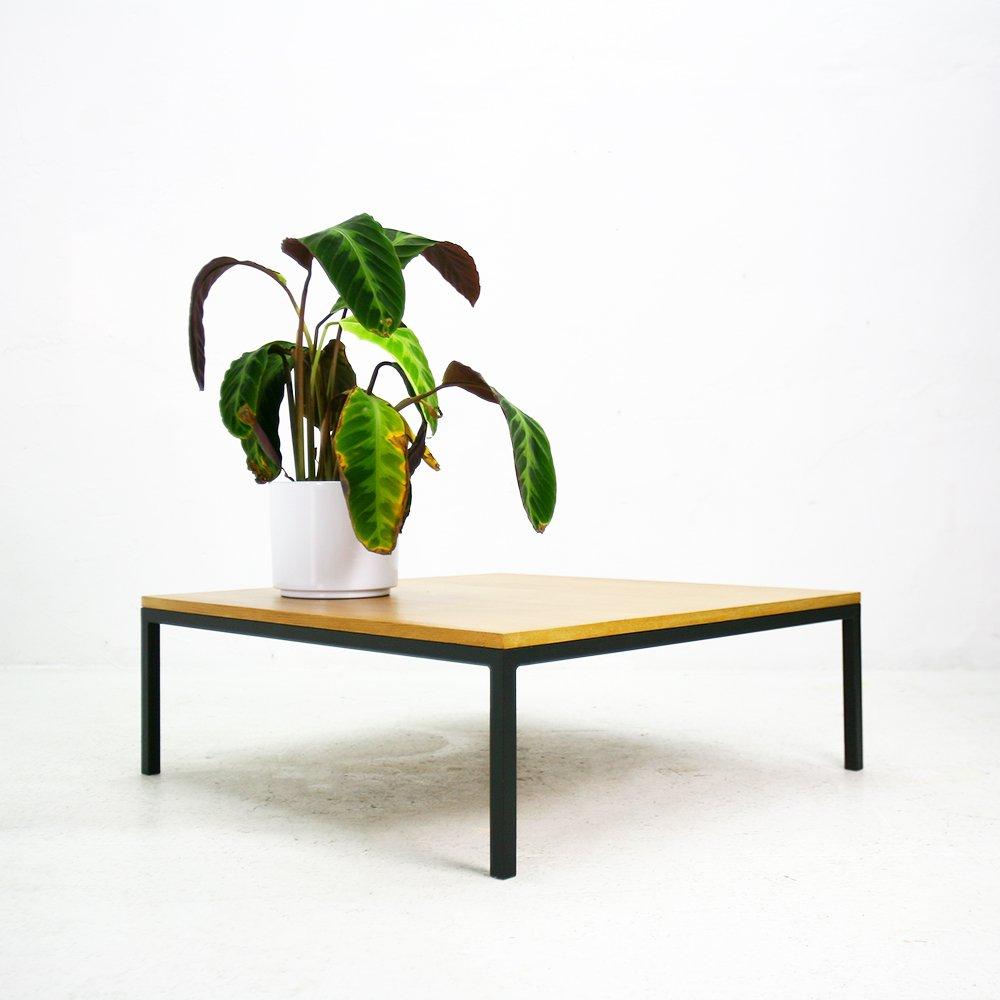 niedriger couchtisch aus eschenholz stahl 1960er bei. Black Bedroom Furniture Sets. Home Design Ideas