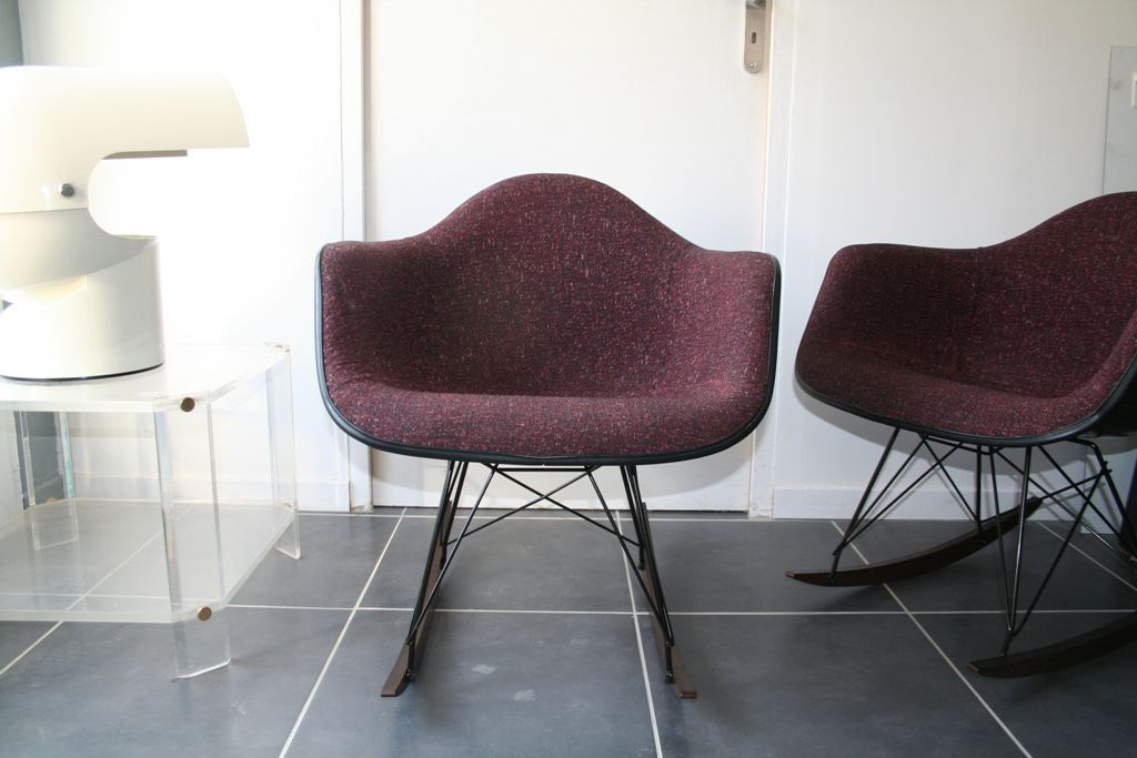 American Vintage Bordeaux RAR Rocking Chair by Charles Ray Eames