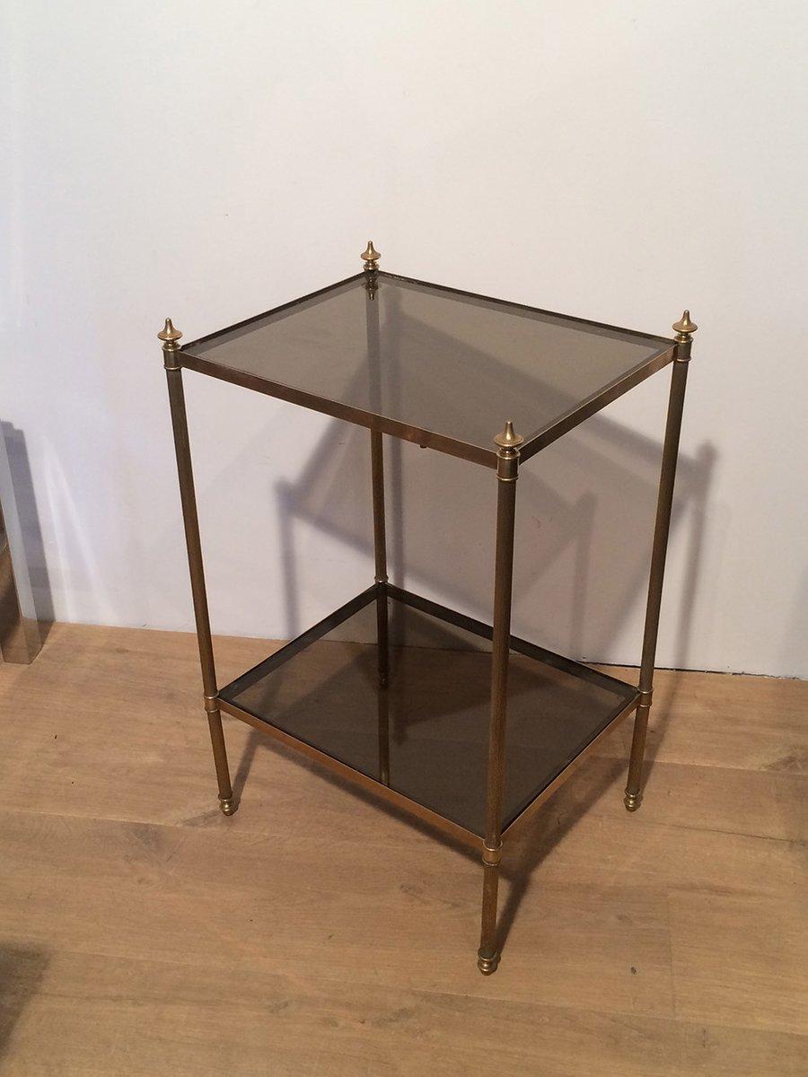 beistelltisch aus messing glas von maison jansen 1940er. Black Bedroom Furniture Sets. Home Design Ideas