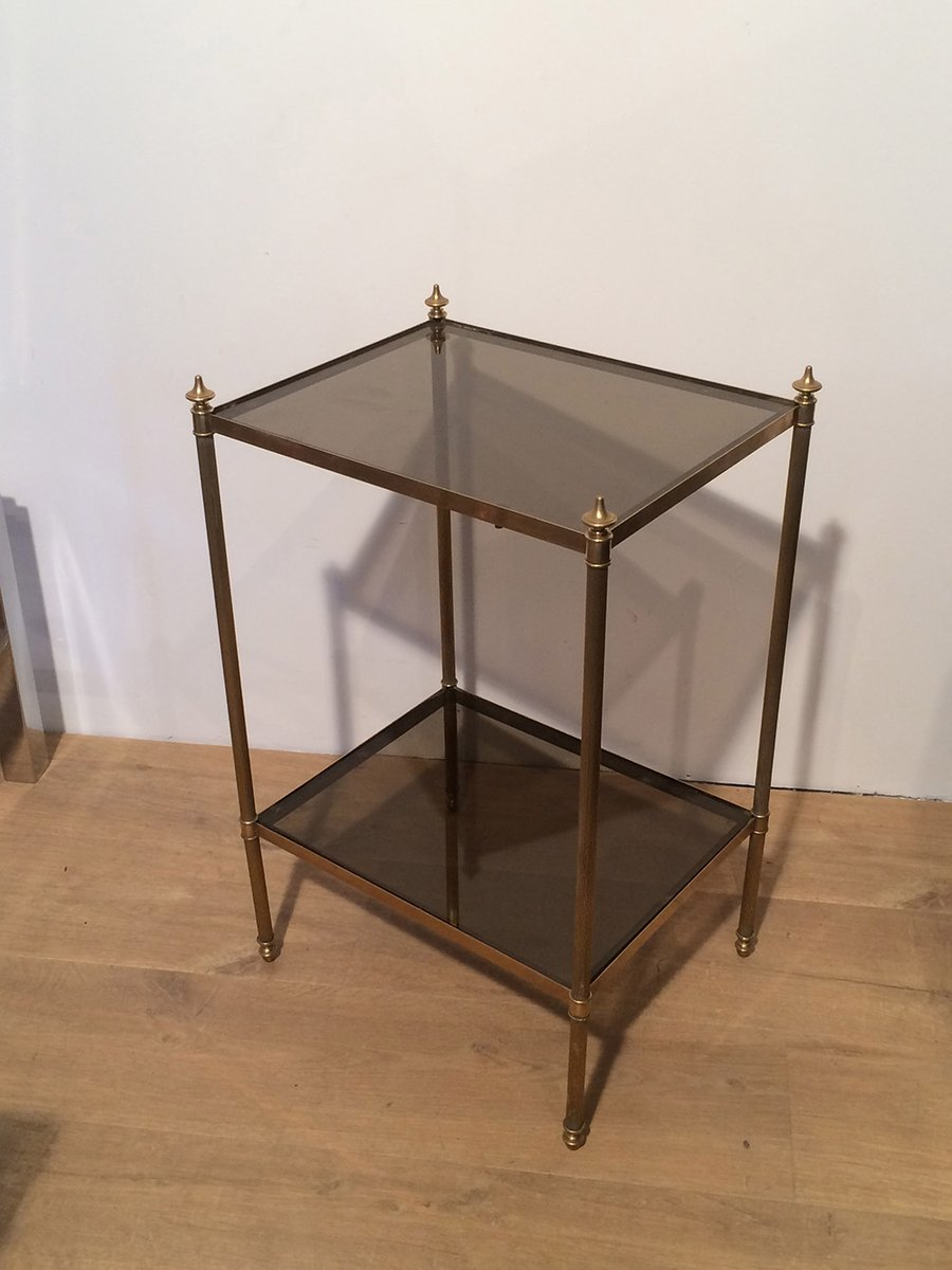 table d 39 appoint en laiton et en verre de maison jansen. Black Bedroom Furniture Sets. Home Design Ideas