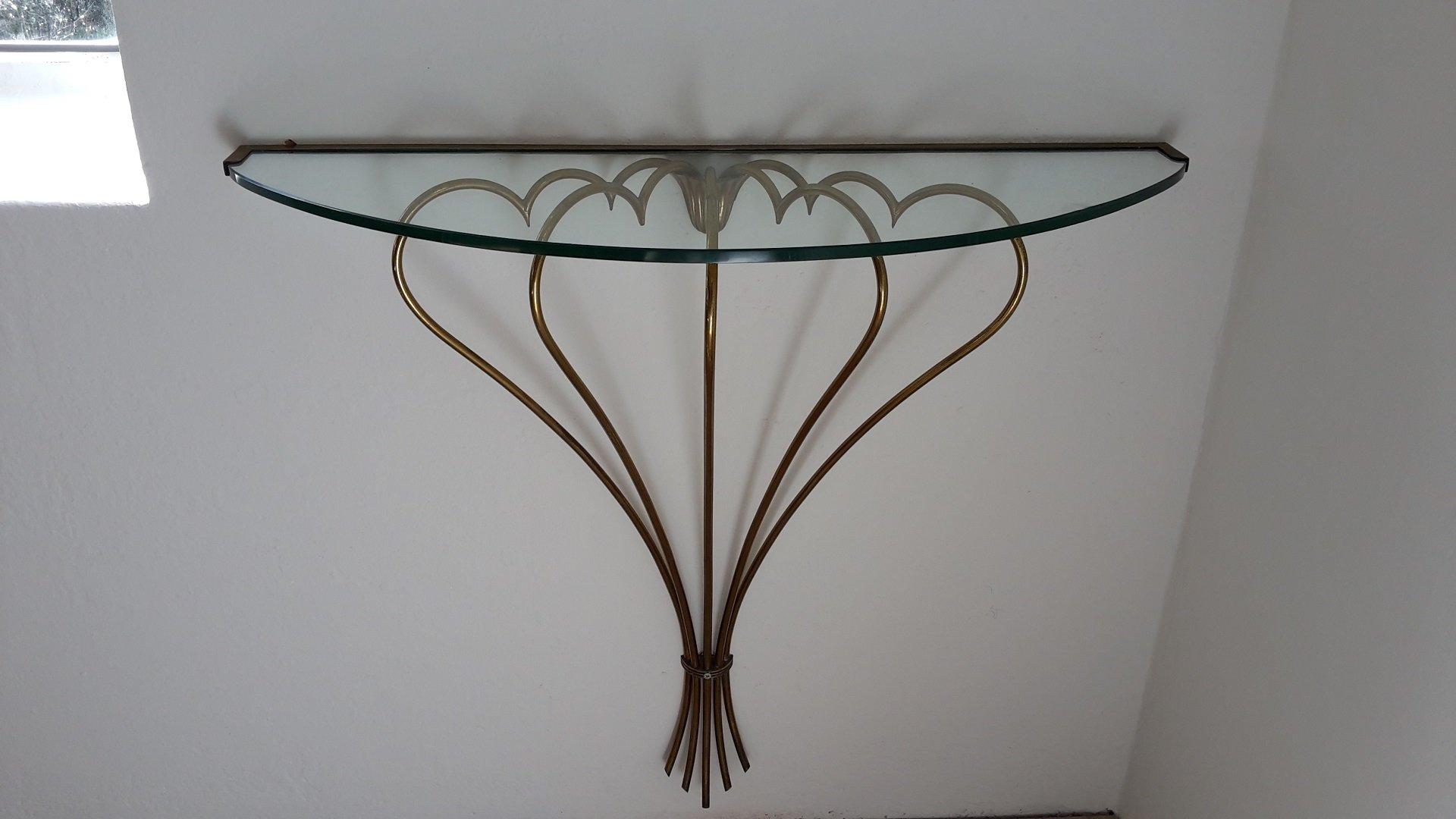italienischer glas messing konsolentisch 1940er bei. Black Bedroom Furniture Sets. Home Design Ideas