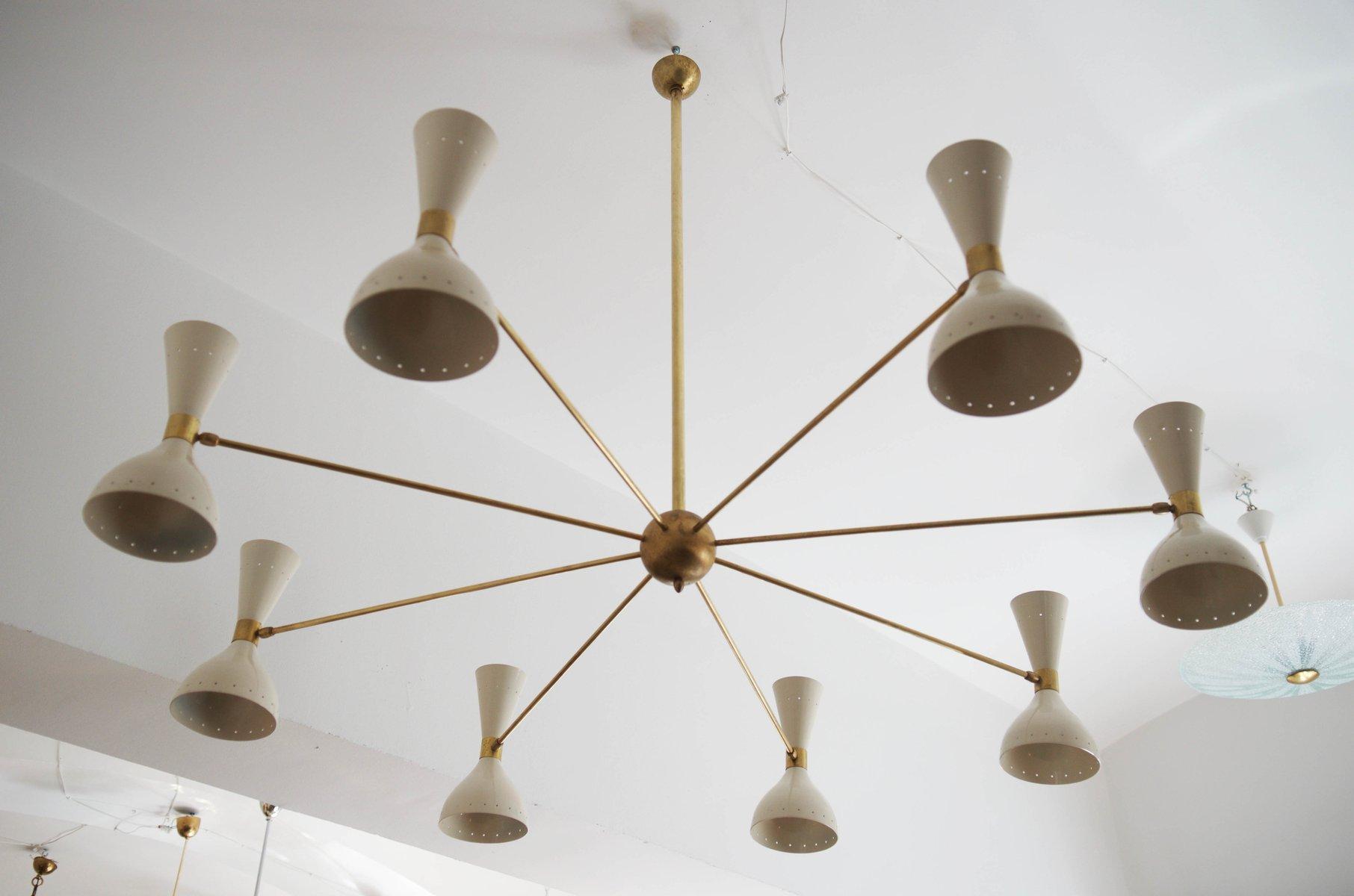 gro er mid century messing kronleuchter 1950er bei pamono kaufen. Black Bedroom Furniture Sets. Home Design Ideas