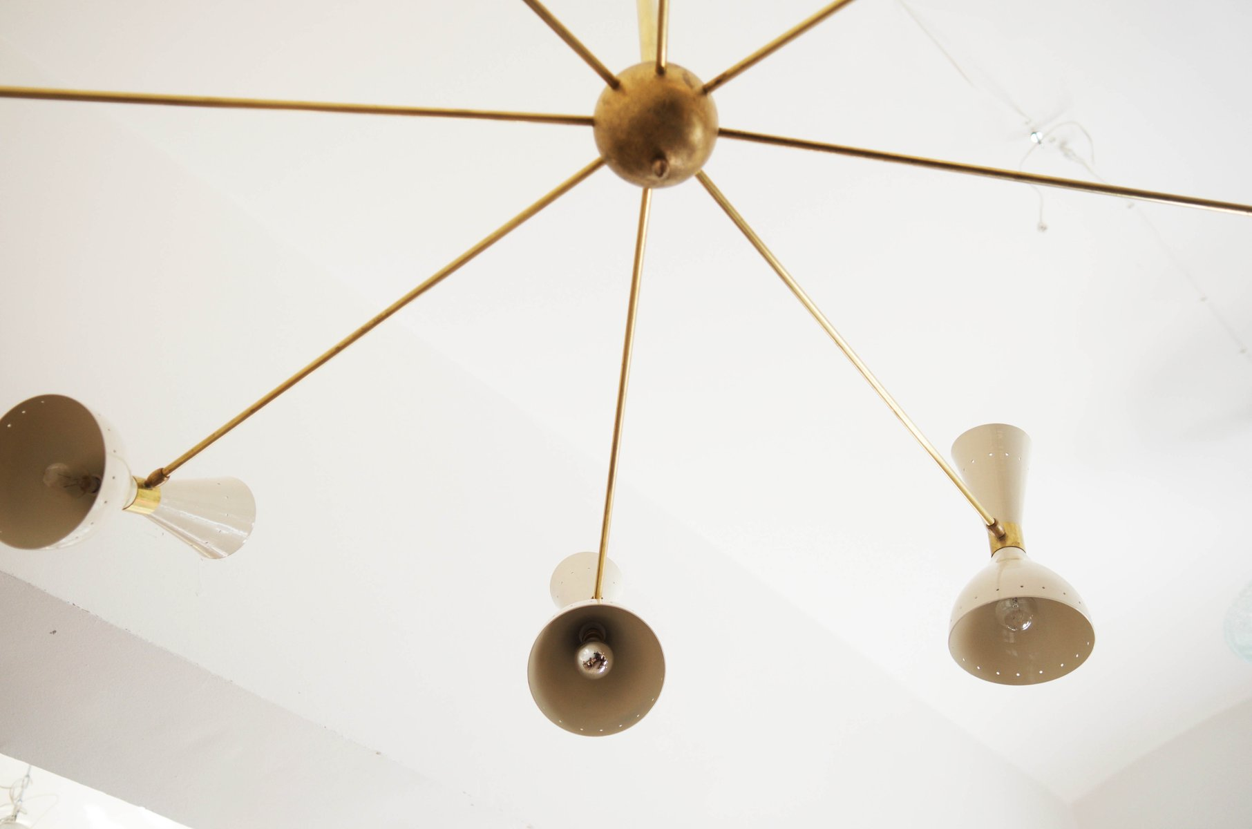 Mid century large brass chandelier 1950s for sale at pamono 733200 mozeypictures Choice Image