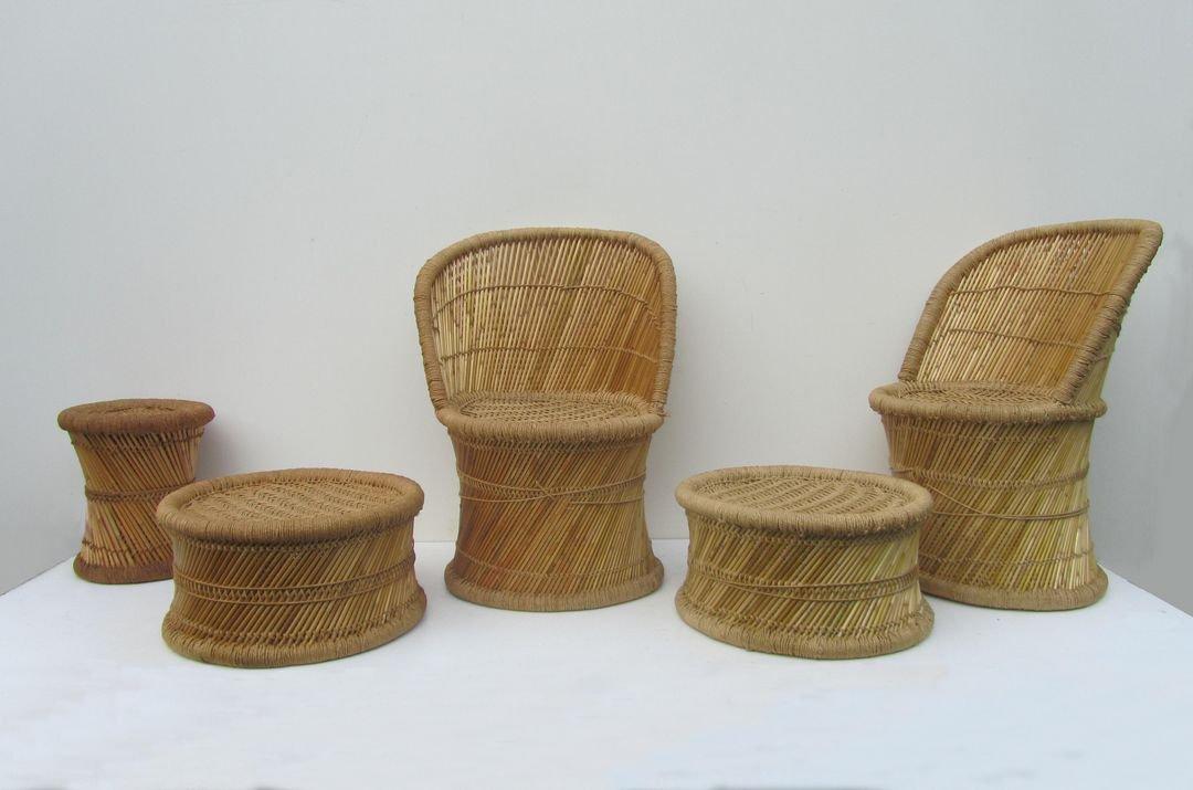 Spanisches vintage wohnzimmer set aus bambus 1970er 5er for Wohnzimmer set