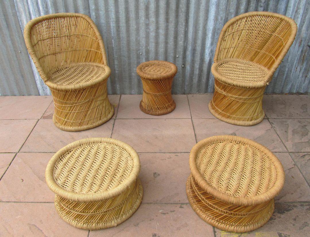spanisches vintage wohnzimmer set aus bambus 1970er 5er set bei pamono kaufen. Black Bedroom Furniture Sets. Home Design Ideas