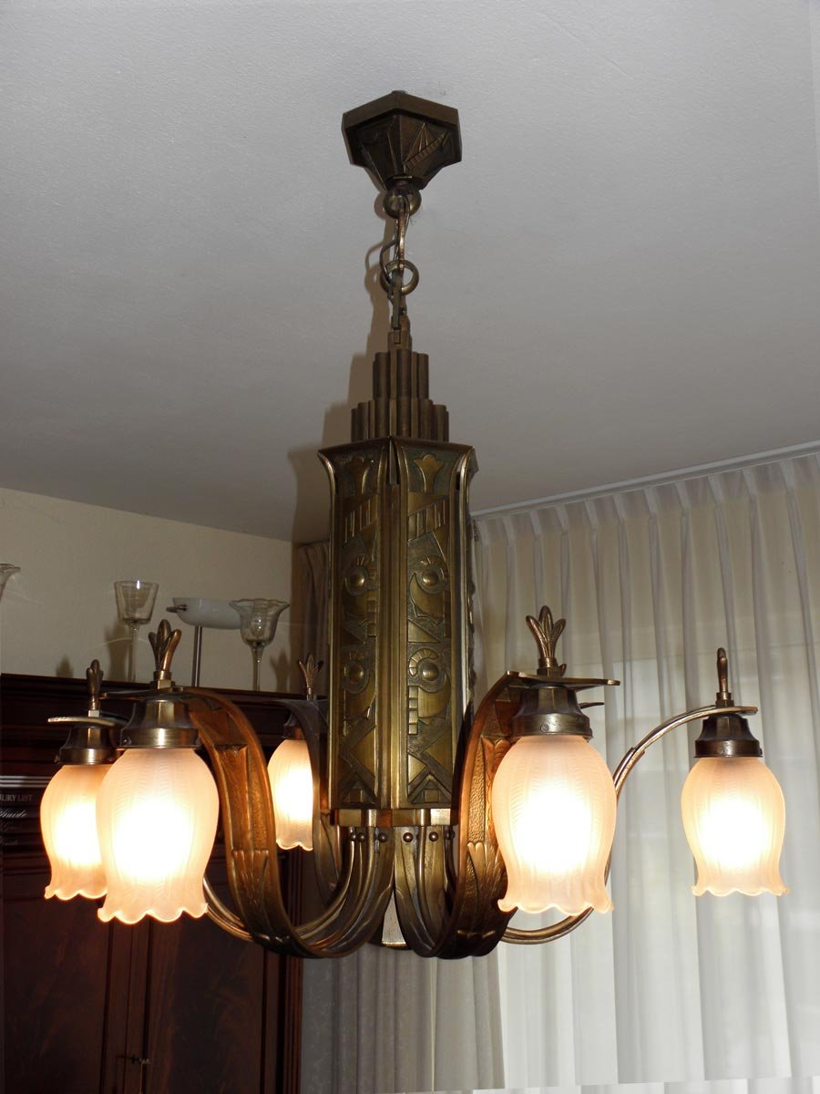 French art deco bronze chandelier 1920s for sale at pamono arubaitofo Choice Image