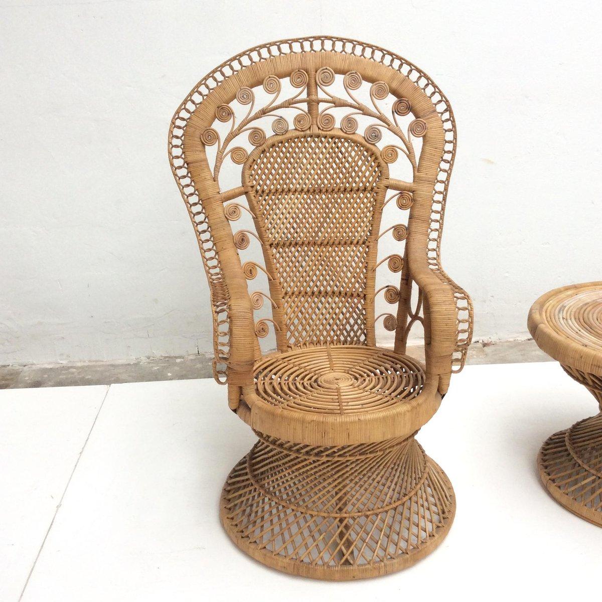 fauteuil emmanuelle vintage en rotin indon sie 1970s en vente sur pamono. Black Bedroom Furniture Sets. Home Design Ideas