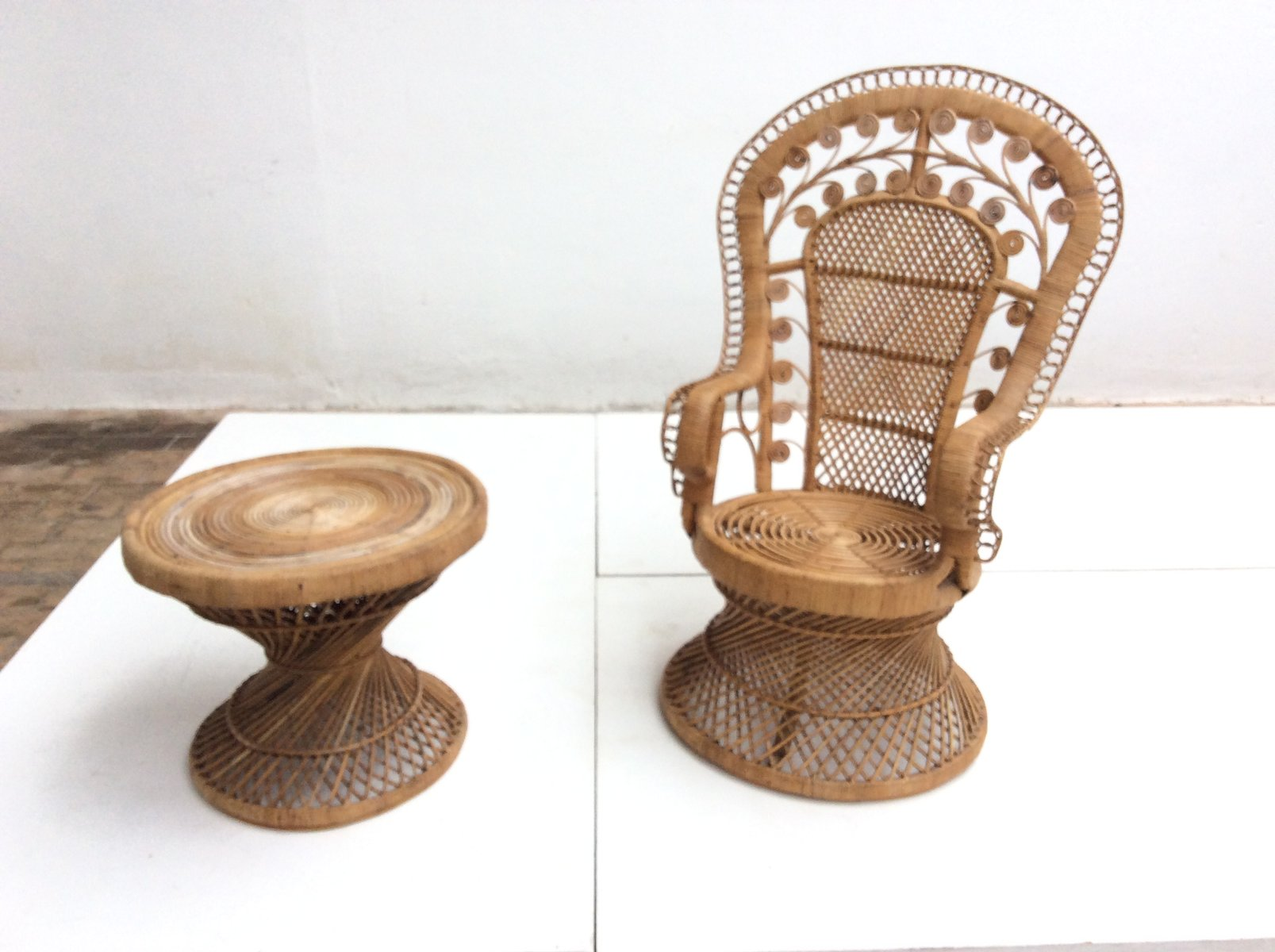 Vintage Indonesian Rattan Peacock Chair and Table 1970s for sale at