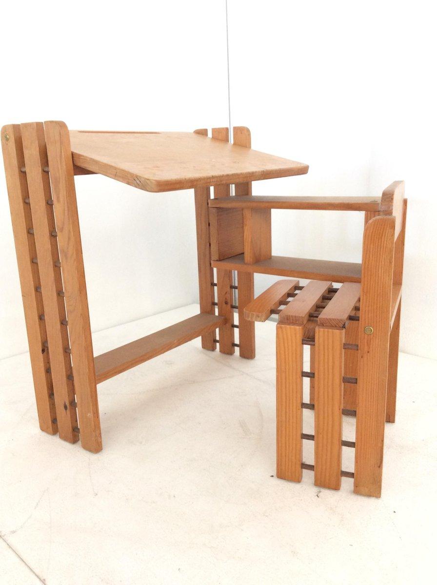faltbarer skandinavischer kiefernholz kinder schreibpult 1970er bei pamono kaufen. Black Bedroom Furniture Sets. Home Design Ideas