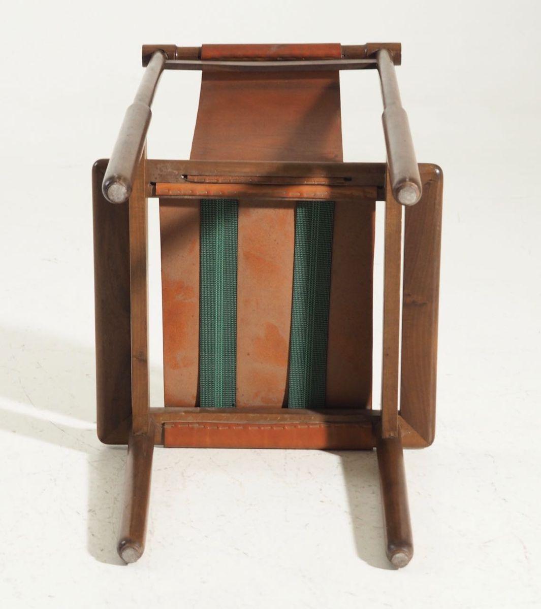 vintage st hle aus nussholz leder 1960er 4er set bei. Black Bedroom Furniture Sets. Home Design Ideas